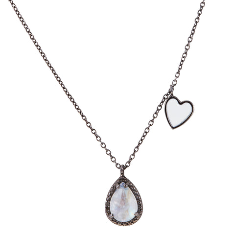 Enamel Heart Dangle Necklace moonstone silver gold
