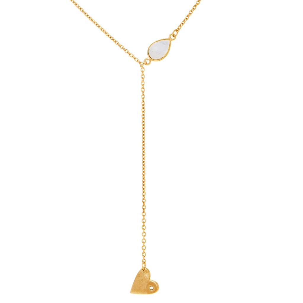 Heart Dangle Lariat moonstone