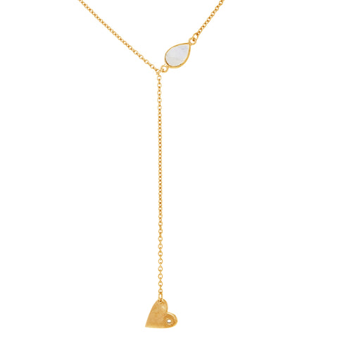 Heart Dangle Lariat moonstone silver gold