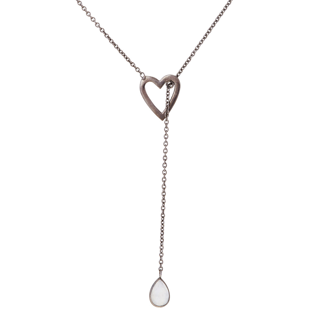 Open Heart Y-Lariat Necklace moonstone silver gold