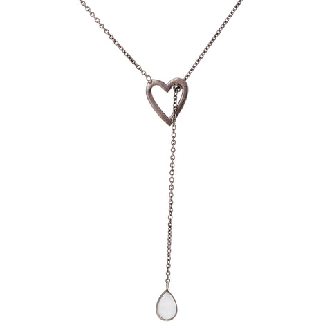 Open Heart Lariat Necklace moonstone