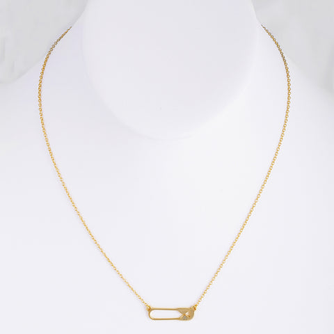 Safety Pin Necklace silver gold