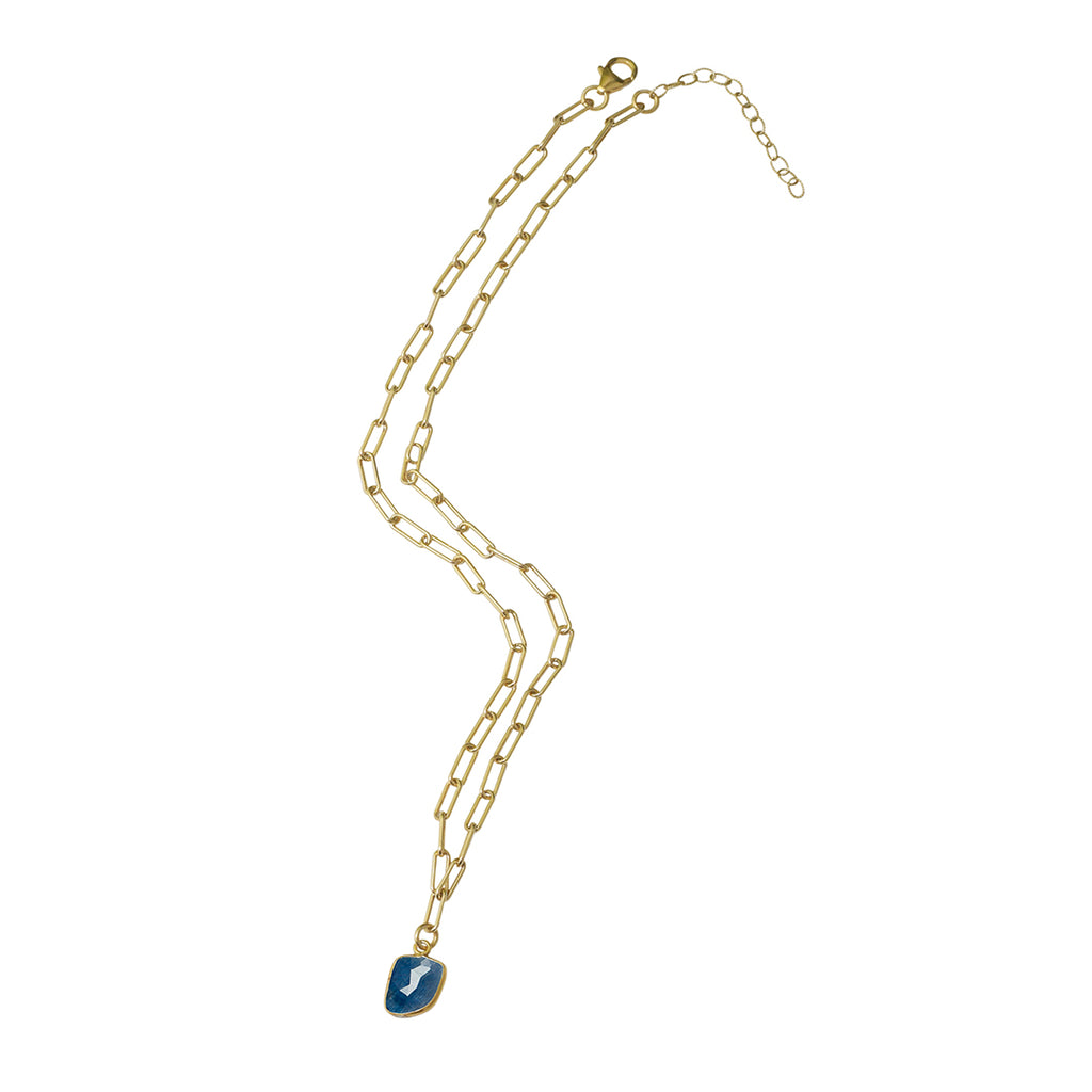 Link Paper Clip Chain Necklace blue sapphire silver gold