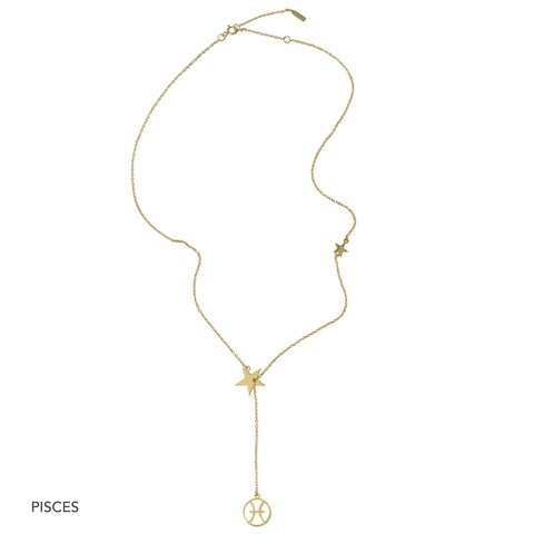 Zodiac Sign Lariat Necklace silver gold