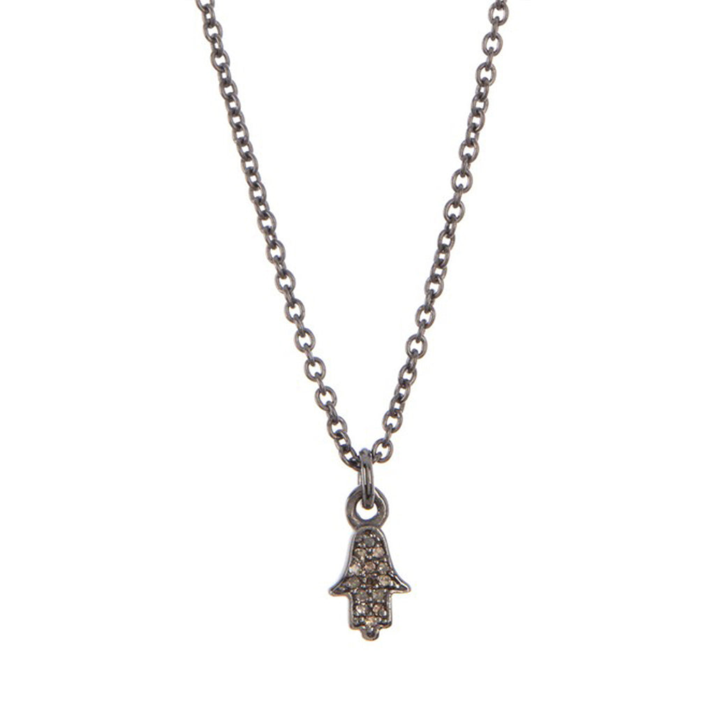 Diamond Hamsa Necklace silver