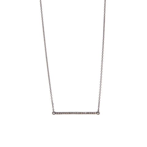 Diamond Bar Necklace silver
