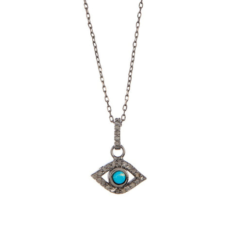 Turquoise Evil Eye Necklace silver