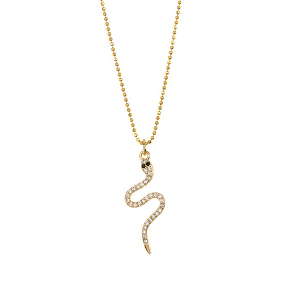 Curvy Crystal Snake Necklace silver