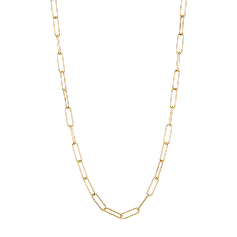 Paper Clip Oval Link Layering Necklace silver gold