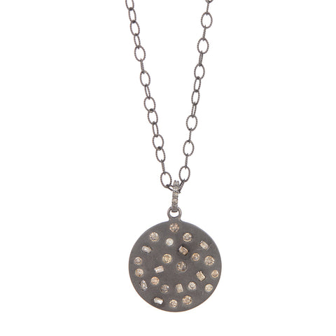 Inlaid Diamond Mosiac Circle Pendant Necklace silver