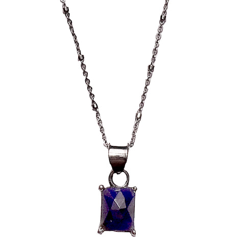 Emerald Cut Prong Set Necklace blue sapphire silver gold