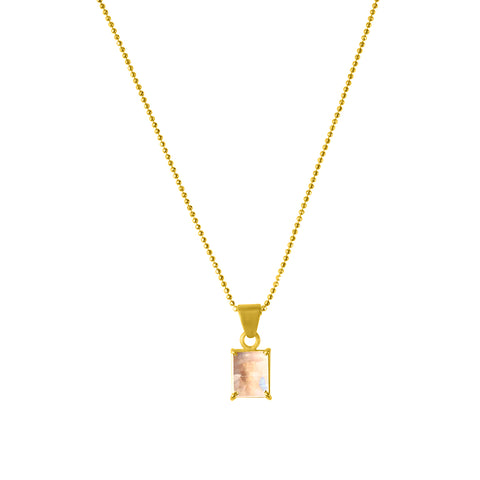 Emerald Cut Prong Set Necklace moonstone silver gold
