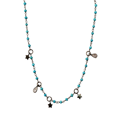 Rosary Bead Star Dangle Necklace turquoise silver