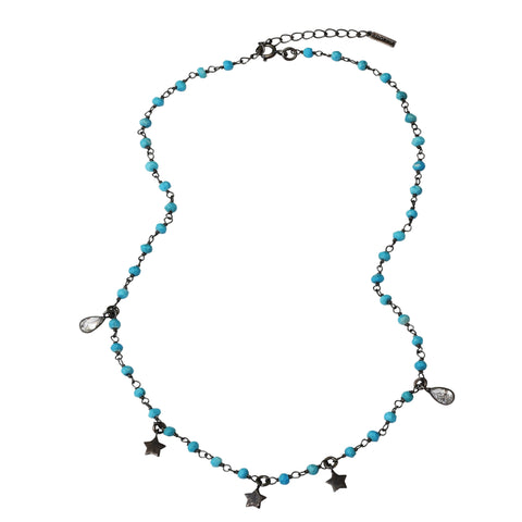Rosary Bead Star Dangle Necklace turquoise