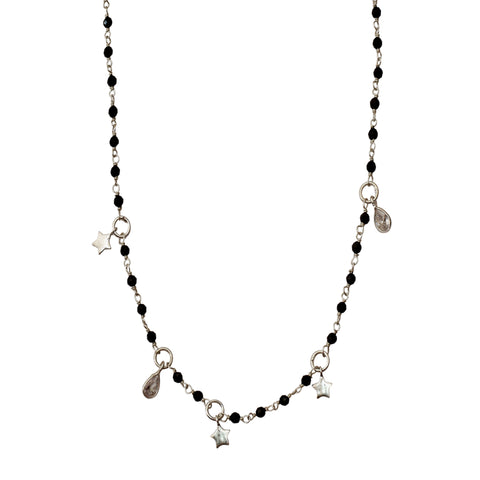 Rosary Bead Star Dangle Necklace black spinel