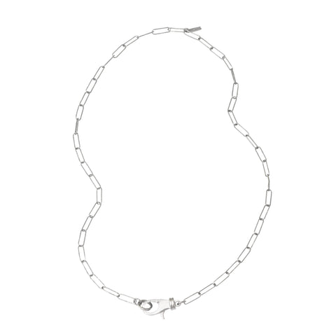 Lock Paper Clip Chain Link Necklace silver gold