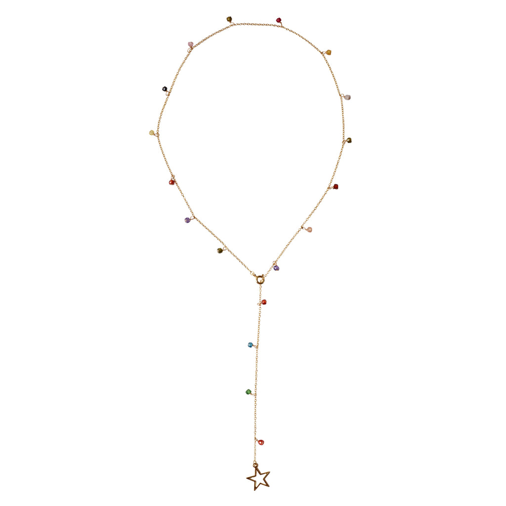 Star Lariat mixed gemstones silver gold