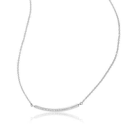Mercer Curved Bar Diamond Necklace diamond silver gold