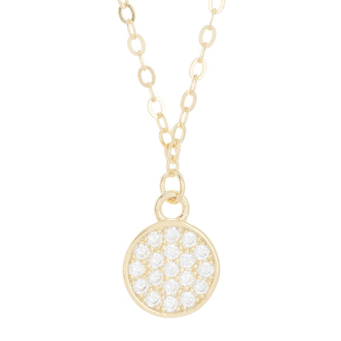 Crystal Disc Necklace silver gold