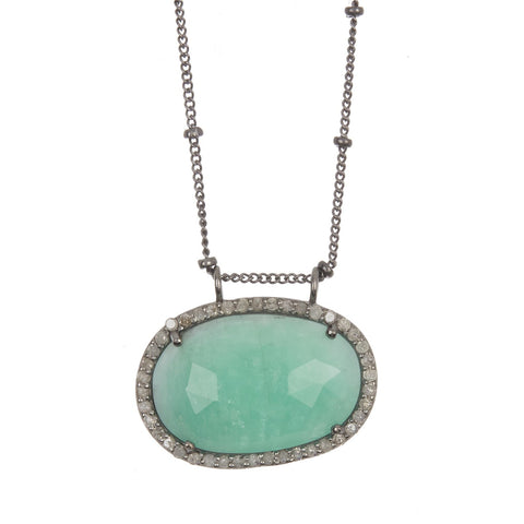 Sideways Slice Emerald Diamond Halo Necklace silver