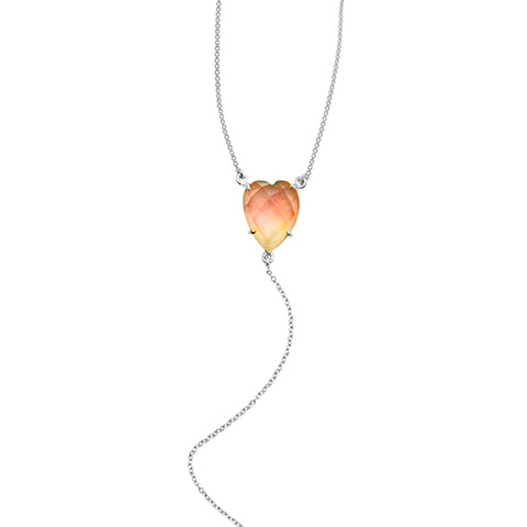 Heart Cut Rose Quartz Y-Necklace