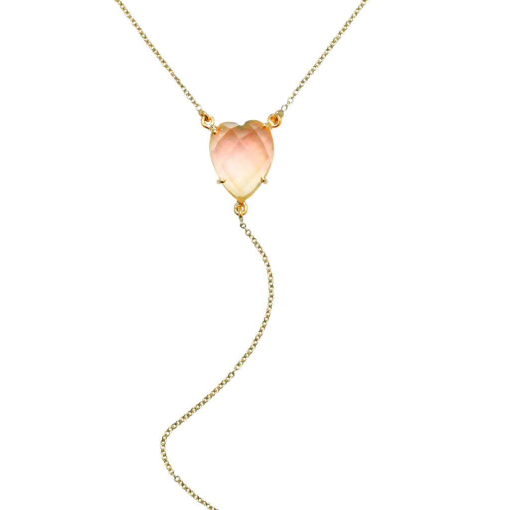 Heart Shaped Rose Quartz Y-Necklace rose quartz silver gold