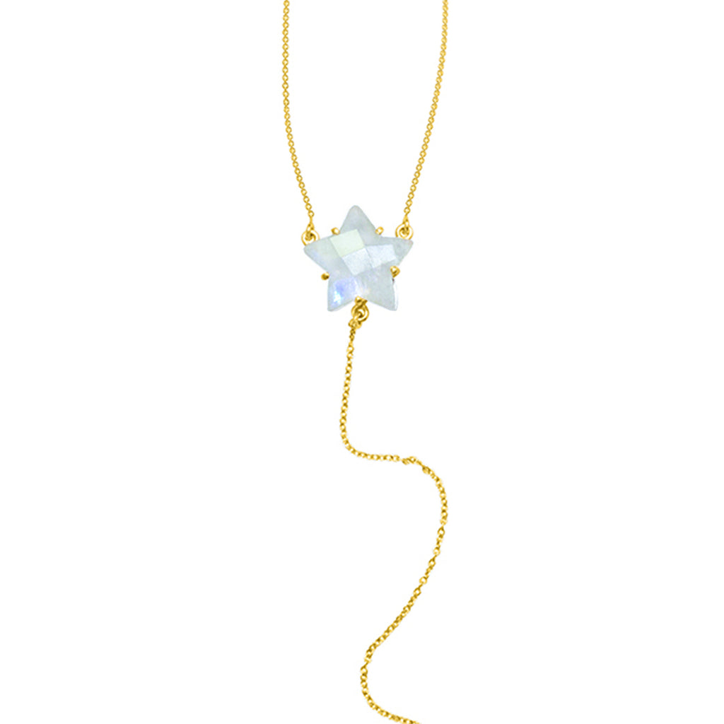 Star Shaped Moonstone Y-Necklace silver gold