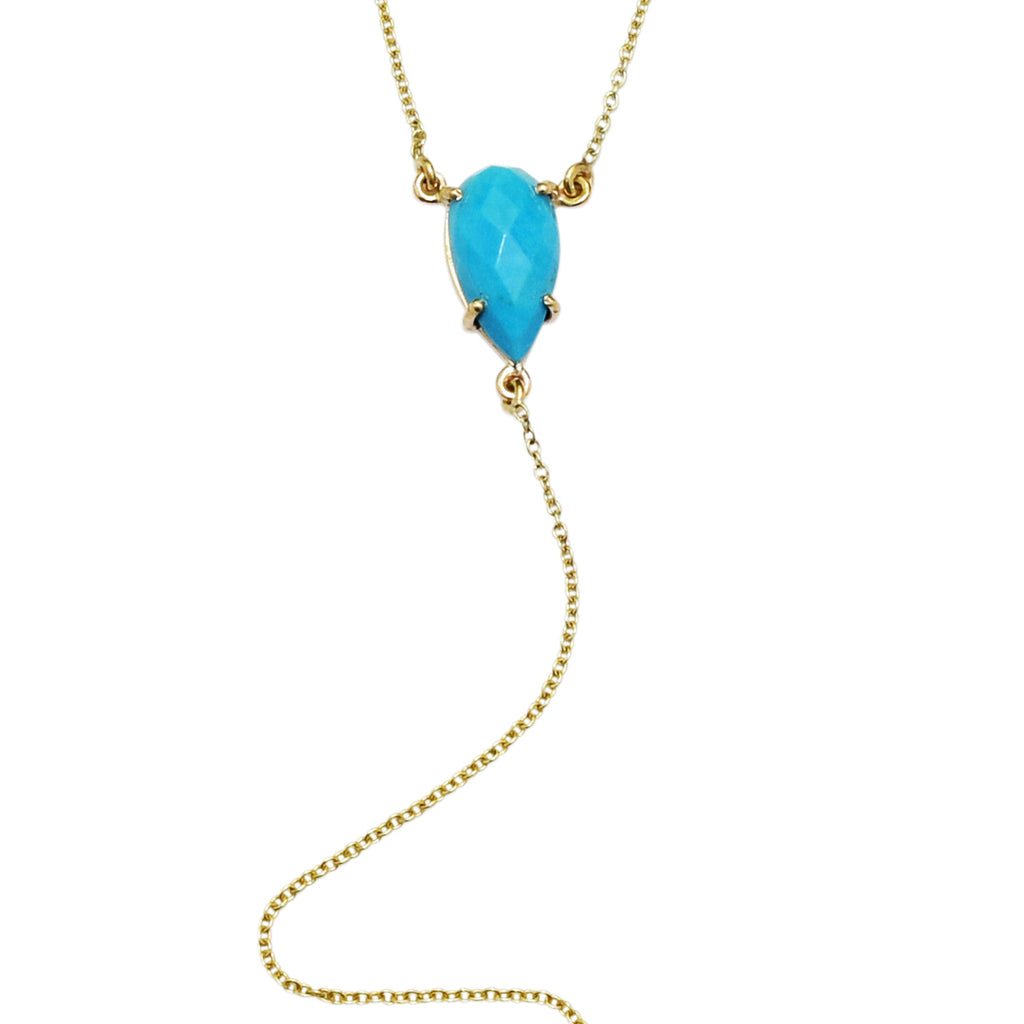 Pear Cut Turquoise Y-Necklace