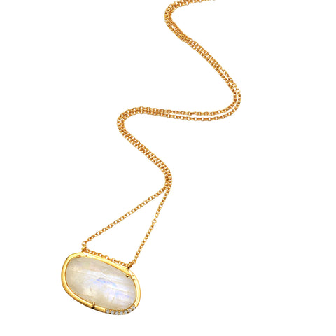 Sideways Slice Moonstone Necklace white topaz silver gold