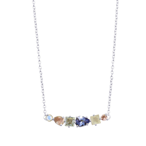 Multi Cut Gemstone Cascade Necklace silver