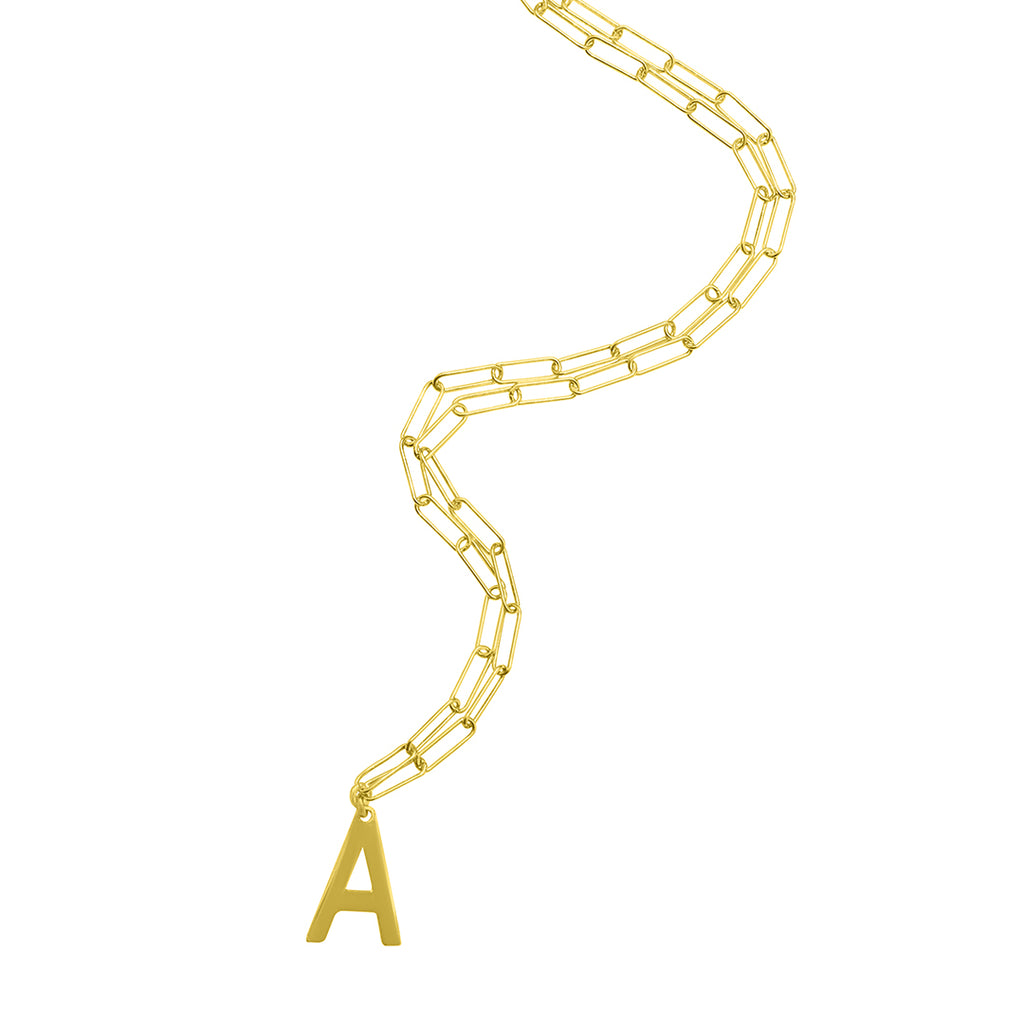 Initial Necklace Paperclip Link Chain