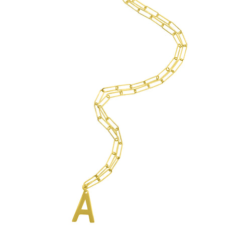 Initial Necklace Paper Clip Chain silver gold