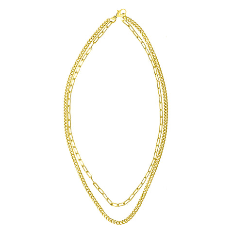Layered Double Strand Mixed Chain Necklace silver gold