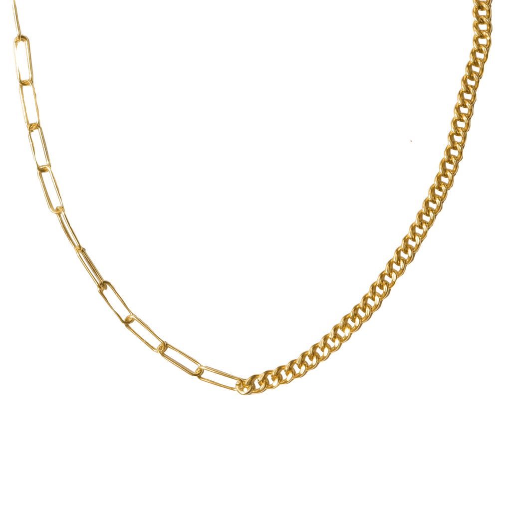 Mixed Chain Layering Necklace silver gold