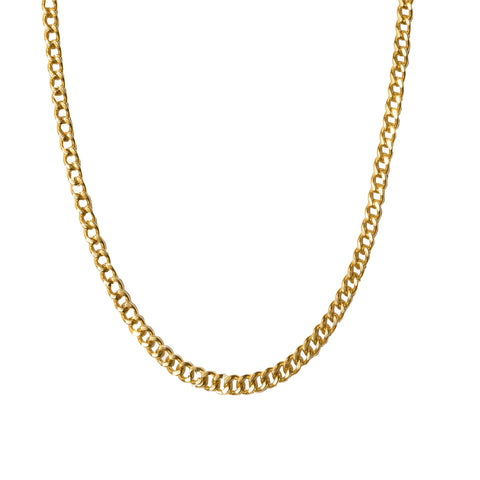 Flat Curb Chain Layering Necklace silver gold