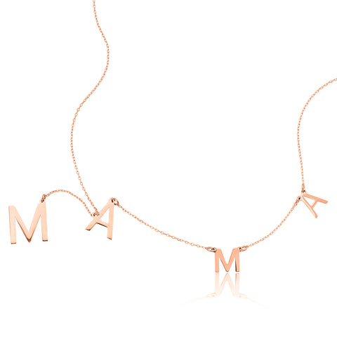 Mama Lariat Necklace silver gold rose gold