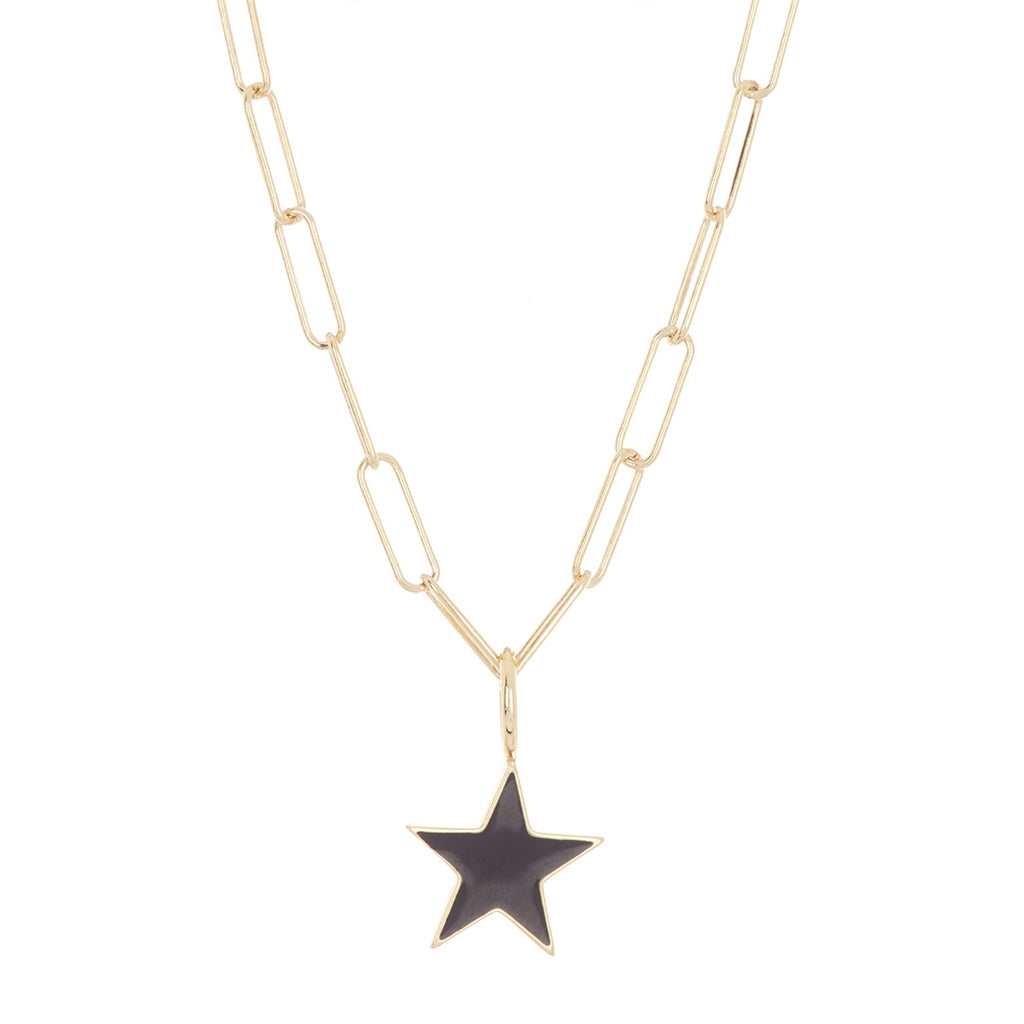Black Enamel Star Paper Clip Chain Necklace silver gold