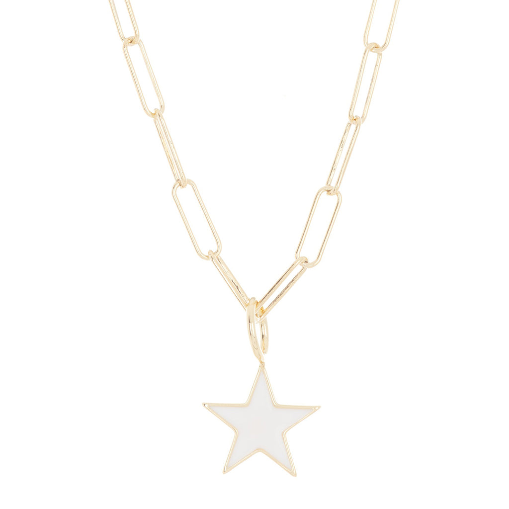 White Enamel Star Paper Clip Chain Necklace silver gold