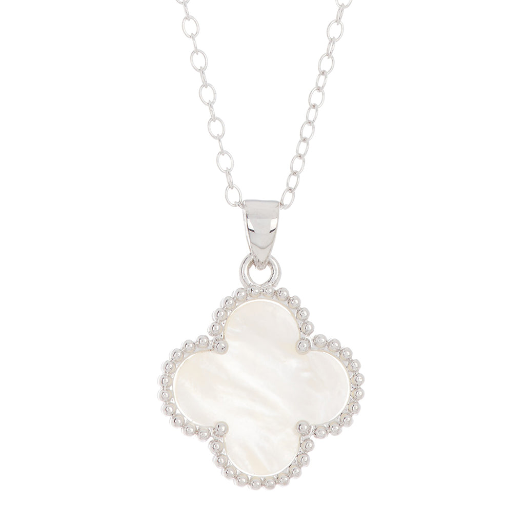 Quatrefoil White Mother of Pearl Necklace silver gold