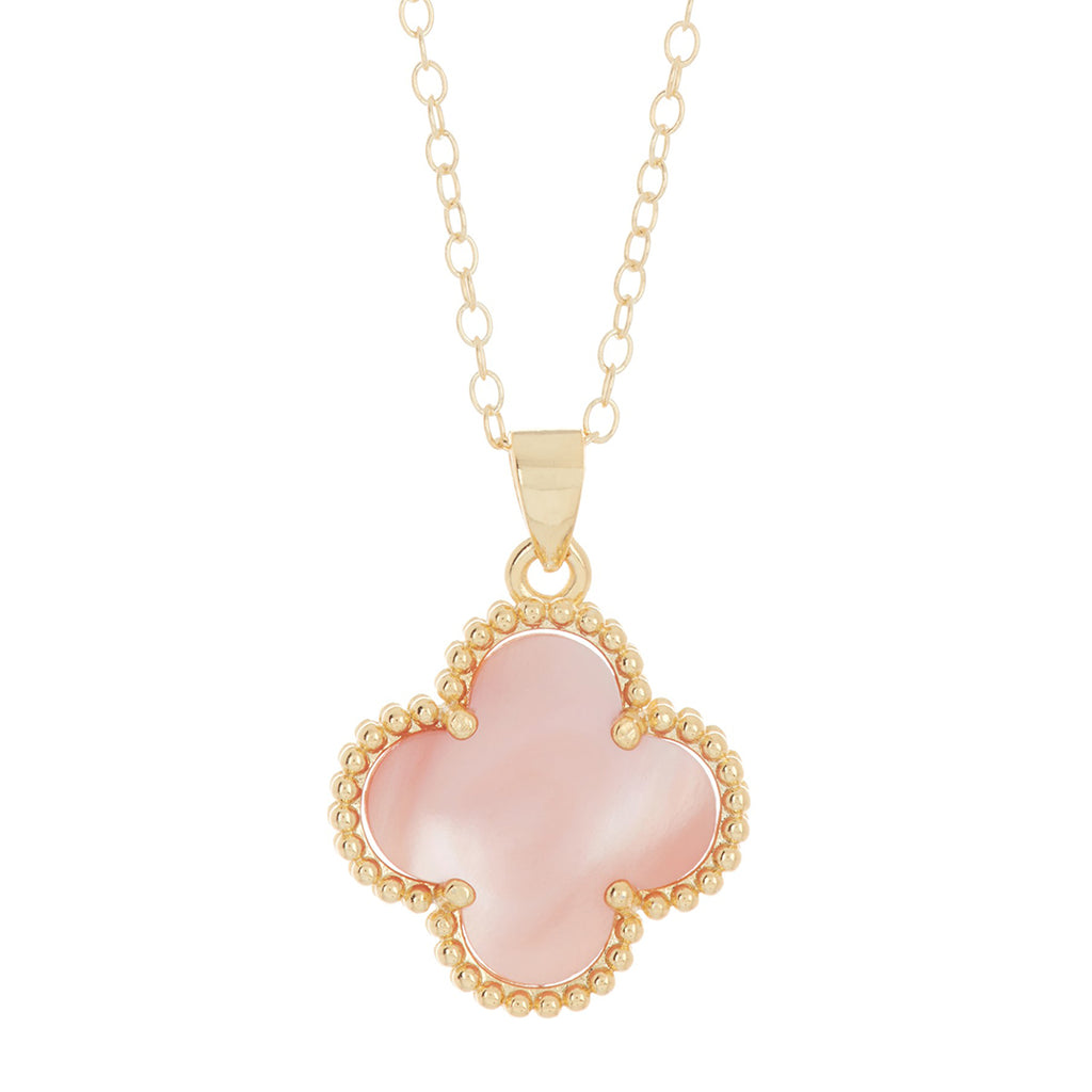Quatrefoil Pink Mother of Pearl Necklace silver gold