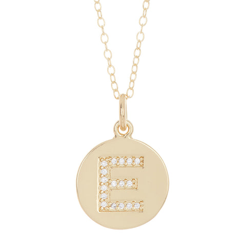 Initial Pave Disc Necklace silver gold
