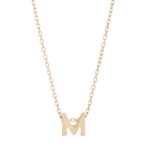 Mini Initial Pendant Necklace silver gold