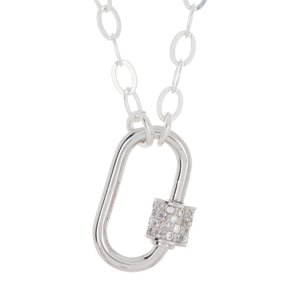 Oval Screw Lock Necklace silver gold