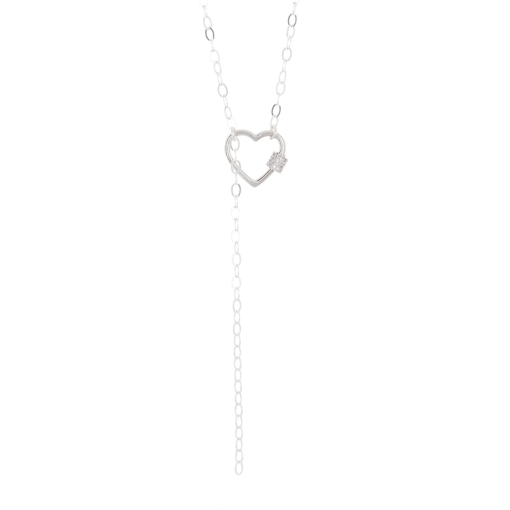 Heart Screw Lock Lariat Y-Necklace silver gold