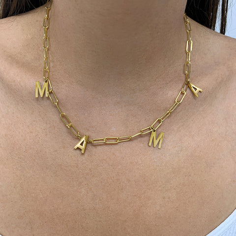 Magnetic Mama Collar Paper Clip Chain Necklace gold