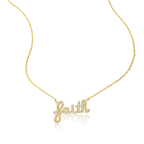 Cursive Faith Necklace silver gold