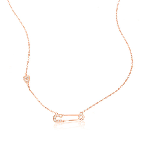Safety Pin Heart Necklace silver rose gold