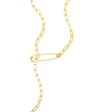 Safety Pin Paper Clip Chain Lariat Necklace gold