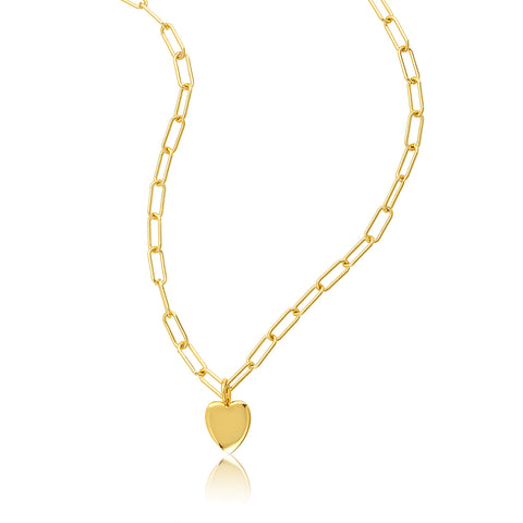 "24"" Heart Charm Paper Clip Chain Necklace gold"