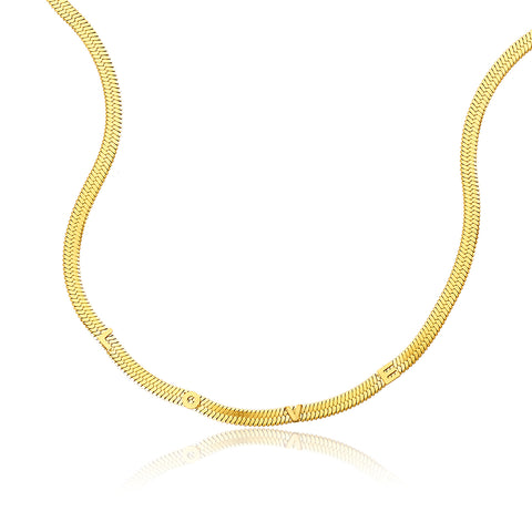 Love Embossed Herringbone Chain Necklace gold